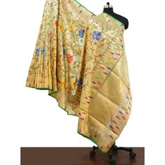 Cream Banarasi silk with multi coloured flowers SAAA12382 - Saree.com
