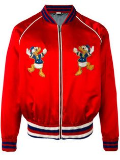 4860ef25714 GUCCI Donald Duck embroidered bomber jacket Silk Bomber Jacket