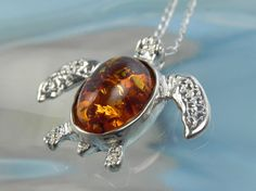 Amber turtle necklace