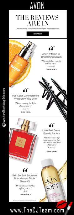 The reviews are in - and you love these! :) Check out the Avon Customer Faves. Anew Vitamin C Serum, True Color Glimmersticks Waterproof Eye Linder, Little Red Dress EDP and Skin So Soft Supreme Nourishment Triple Phase Oil.  Starting at $10. #C8 #Avon #CustomerFaves #Favorites #CJTeam #Anew Shop Avon Online @ www.TheCJTeam.com.  Never miss out on current Avon new product releases and sales, subscribe to The CJ Team Blog @ www.MoreThanMakeupOnline.com  Avon Reps  Chris & Judy
