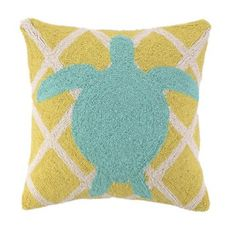 Sea Turtle on Criss Cross Pattern Pillow - Beach Decor Shop