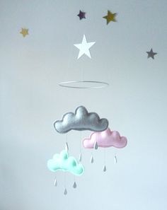 "Grey,Light Pink,Mint cloud mobile for nursery with silver star ""SARA"" by The Butter Flying-Rain Cloud Mobile Nursery Children Decor. $59.00, via Etsy."