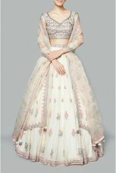 Drape this Adorable Light Cream Color Malai Satin Lehenga and look pretty like never before. This beautiful Lehenga Skirt and look pretty like never before. This beautiful Lehenga. Indian Dresses, Indian Outfits, Indian Clothes, Lehenga Online, Indian Bridal Lehenga, Lehenga Designs, Indian Attire, Indian Wear, Indian Designer Wear