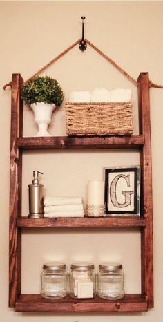 #DIY Easy Bathroom Shelf I LOVE this idea!