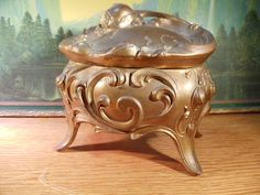 Vintage Art Nouveau Footed Jewelry Casket by TheRightSpot on Etsy, $28.00