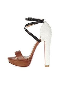 Sheepskin Upper Leather Chunky Heel Open Toe Sandals With Strap Color Block