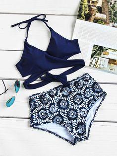 Calico Print Wrap High Waist Bikini SetFor Women-romwe