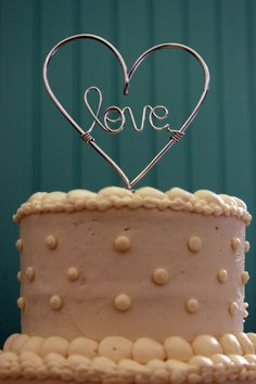 Whole Lotta Love  Wire Heart Wedding Cake Topper ...thought of Tori G and @ Vicki Sita