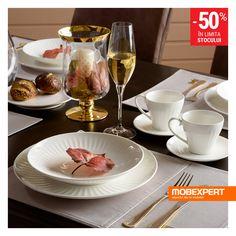 Un set de veselă elegant complimentează preparatele deosebite. #vesela #masa #mobexpert Winter Sale, 30th, Table Settings, Tableware, Shop, Dinnerware, Tablewares, Place Settings, Store