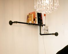 Pipe Corner Shelf: it is actually so perfect for our loft! cool shelf!