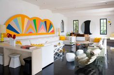 Frank Stella Protractor white living room of Lisa Perry Hamptons house