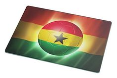 Rikki Knight Brazil World Cup 2014 Ghana Team Football Soccer Flag Large Glass Cutting Board Workspace Saver, 15.3 x 11.3-Inch
