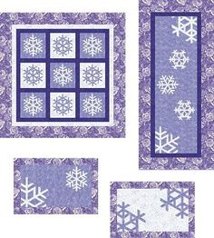Brighten a dreary winter's day by paper-piecing these snowflake blocks then set them into placemats, a table runner and wall quilt. Complete instructions for pa Snowflake Quilt, Snowflake Craft, Snowflakes, Easy Quilt Patterns, Paper Piecing Patterns, Quilting Projects, Quilting Designs, Quilt Design, Quilting Ideas
