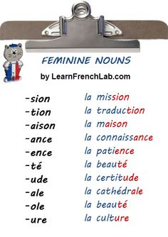 Learn how to identify the gender of French Nouns. Easy Tips to find out instantl… Learn how to identify the gender of French Nouns. Easy Tips to find out instantly if a noun is masculine or feminine. French Verbs, French Grammar, French Phrases, French Sayings, French Language Lessons, French Language Learning, French Lessons, Ap French, Study French