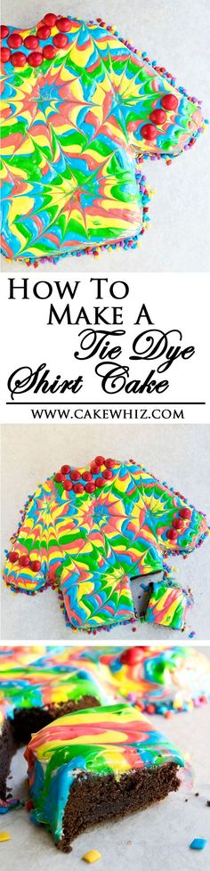 Learn how to make a TIE DYE SHIRT CAKE, using this step-by-step tutorial. Great for Father's day! From cakewhiz.com
