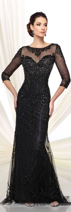Formal Evening Gowns by Mon Cheri – Fall 2016 – Style No. – black evening… Formal Evening Gowns by Mon Cheri – Fall 2016 – Style No. – black evening gown with illusion sleeves Evening Dresses With Sleeves, Mob Dresses, Formal Evening Dresses, Elegant Dresses, Formal Gowns, Special Dresses, Black Evening Gowns, Dress Formal, Mon Cheri
