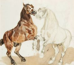 Two horses by Piotr Michałowski, first half of the 19th century (PD-art/old), Muzeum Sztuki w Łodzi (MSL)