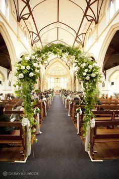 23 02 flower arch way white roses ribbon green follage St Joseph's Subiaco church ceremony perth wedding photographers wa.jpg