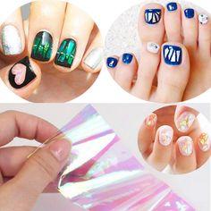 Japanese Korean style shining brilliantly coloured nail art irregular Glass foil Mirror Slice platinum paper sticker for nails