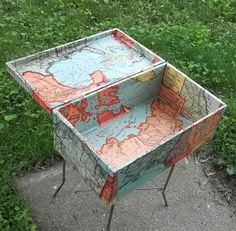 Upcycled Vintage School Map of the World on a Wooden Chest.  I have lots of boxes that would look great recovered.