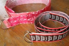 candy wrapper belts, the girls would love making these. perfect for an after the Halloween candy project.
