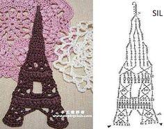 Torre Eiffel - Aplique en crochet