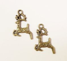 Bronze Deer Charms 20x15mm Vintage Tone by BusyBeeBeadSupplies, $2.60