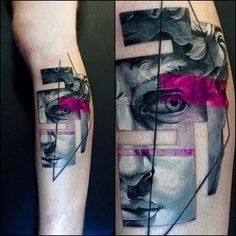 Michelangelo's David inspired graphic style tattoo. Tattoo artist: Vlad Tokmenin