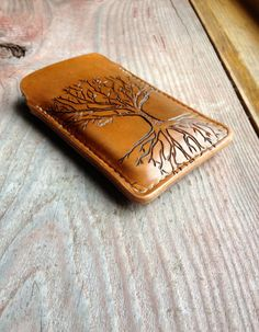 Leather iPhone Case with Hand-Carved Tree imprint // Handmade with Hand-Stitching