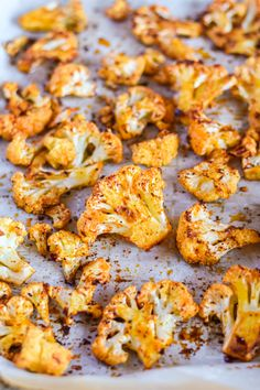 This roasted cauliflower recipe is a tasty addition to any table. It's healthy and festive, loaded with nutrients and flavor. Roasted Califlower, Spicy Roasted Cauliflower, Indian Cauliflower, Vegan Cauliflower, Spicy Recipes, Vegan Recipes Easy, Cooking Recipes, Vegetarian Recipes, Cooking Tips