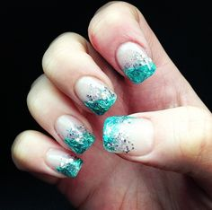 Aqua blue flashy nails