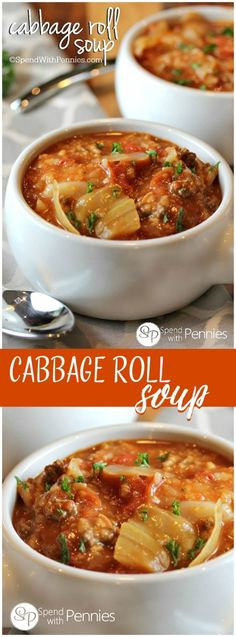 Low Unwanted Fat Cooking For Weightloss Cabbage Roll Soup Is My Favorite Way To Enjoy Cabbage Rolls Loads Of Cabbage, Meat And Rice In A Flavorful Tomato Broth Make The Perfect Comfort Food Cabbage Recipes, Chili Recipes, Slow Cooker Recipes, Crockpot Recipes, Cooking Recipes, Broccoli Recipes, Water Recipes, Vegetarian, Gastronomia