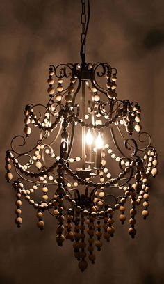 Rustic Home Decorating Design Ideas Paper Chandelier, Beaded Chandelier, Chandelier Lighting, Chandeliers, Anthropologie, Old Art, Hanging Lights, Wooden Beads, Home Lighting