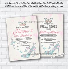 Bridal Shower, OR, birthday invitation,  Shabby Chic, butterflies party , Invitation Card Design , high heel invite - card 337