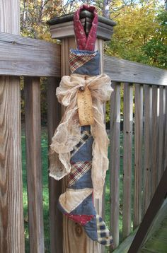 Folk Art PrimiTive ChrisTmas Old Grungy Quilt STOCKING Door GreeTer Decoration #NaivePrimitive #MelissaHarmon