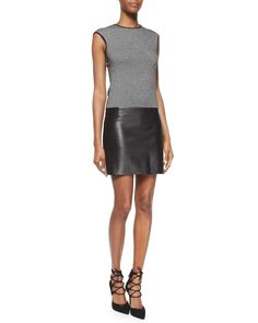 Cashmere & Leather Combo Dress, Women's, Size: MEDIUM, Black/White - Ralph Lauren Black Label
