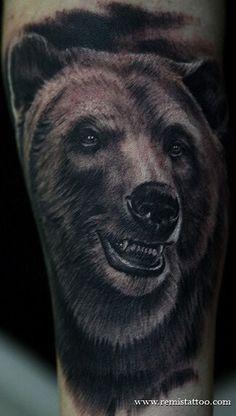 Bear Tattoo - Nitro Tattoos 1701 Page 1 of 1 Rose Tattoo Black, Black Bear Tattoo, Tattoo Gallery, Art Gallery, Design Tattoo, Tattoo Designs, Tattoo Ideas, Potrait Tattoo, Grizzly Bear Tattoos