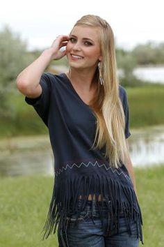 2f2b67110b9 Cruel Girl Jersey Knit V-neck With Fringe Short Sleeve - Urban Western Wear  Summer