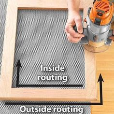 Routing on the edge of a frame on gray cloth #WoodworkingTips #woodworkingprojects
