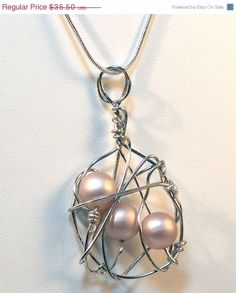 Christmas in July Vintage Beige Pearl Wire Wrapped Orbit Necklace - Sterling Silver - CIJ Sale