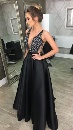 Charming A-Line Deep V Neck Backless Black Long Prom Dresses with Beading 011f69f8b321