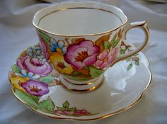 Floral Mid-Century Teacup and Saucer Royal by DauphinTimeCapsule
