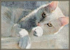 """""""Faith""""    I based the choice of pose on a similar painting I did of Cleveland Amory's white cat many many years ago.  This kitty, Faith, was rescued, brought in from the cold, so frightened, but now safe and warm. This was a mixed-media artcard painting"""