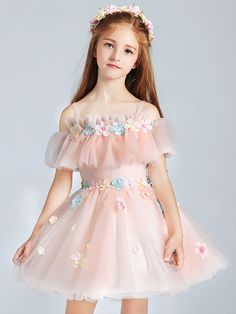 Pink Applique Slip Dress with Boat Neck. Use the discount code PTJHS to bu Kids Prom Dresses, Little Girl Dresses, Stylish Dresses, Flower Girl Dresses, Flower Girls, Dress Anak, Kids Lehenga, Vetement Fashion, Kids Frocks