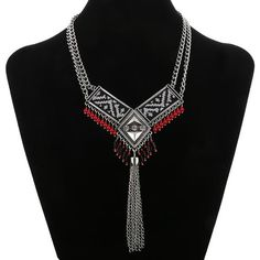 Tassel 3 Crystal Ribbon Necklace