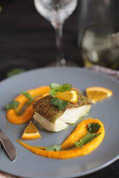Cabillaud en croute d'herbes et agrumes et sa mousseline carotte/orange