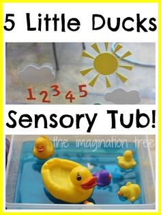 """Five Little Ducks Storytelling Water Play - a fun way to enjoy numbers, counting, singing & story-telling. from The Imagination Tree ("""",) Rhyming Activities, Counting Activities, Infant Activities, Activities For Kids, Indoor Activities, Sensory Tubs, Sensory Boxes, Sensory Play, Little Duck"""