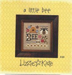 Lizzie Kate A Little Bee Cross Stitch Kit Linen & Button #LizzieKate