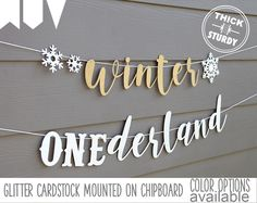 winter ONEderland banner, with snowflakes, winter 1st birthday, glitter party decorations, cursive banner by PARTYsimplified on Etsy https://www.etsy.com/listing/488866797/winter-onederland-banner-with-snowflakes
