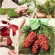DIY Crepe Paper Pine Cone with Fir Leaf | www.FabArtDIY.com